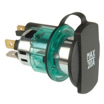 Cigarette Lighter Power Socket Adapter Sleeve Green 20A 12-24V